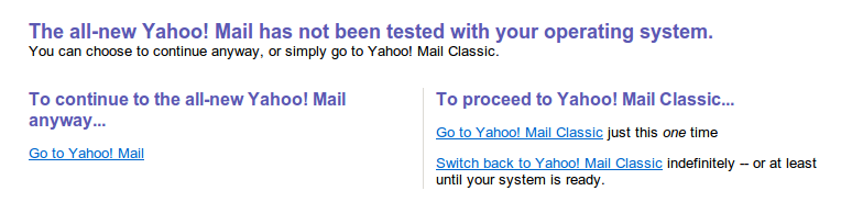 Yahoo unsupported OS